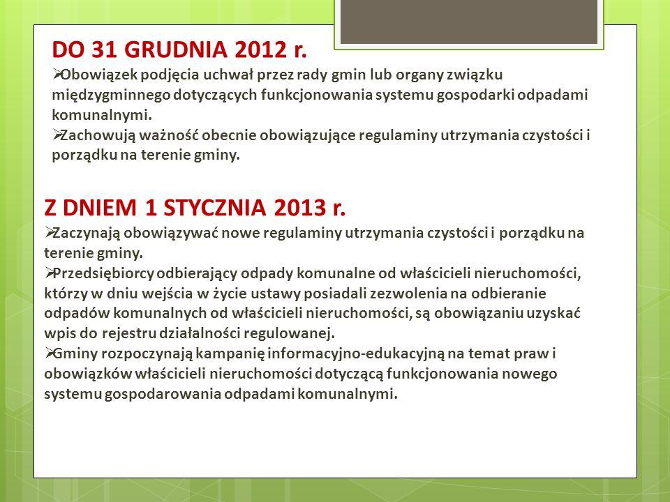DO 31 GRUDNIA 2012 r. Z DNIEM 1 STYCZNIA 2013 r.