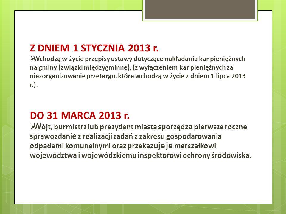 Z DNIEM 1 STYCZNIA 2013 r. DO 31 MARCA 2013 r.