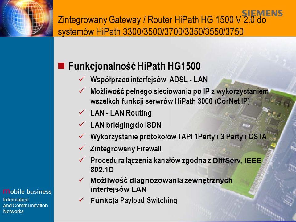 Funkcjonalność HiPath HG1500