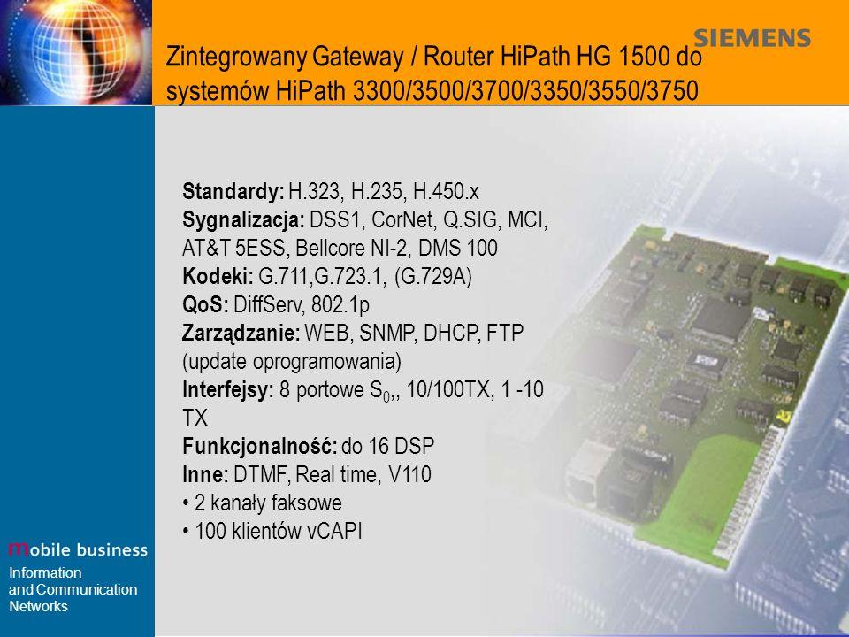 Zintegrowany Gateway / Router HiPath HG 1500 do systemów HiPath 3300/3500/3700/3350/3550/3750