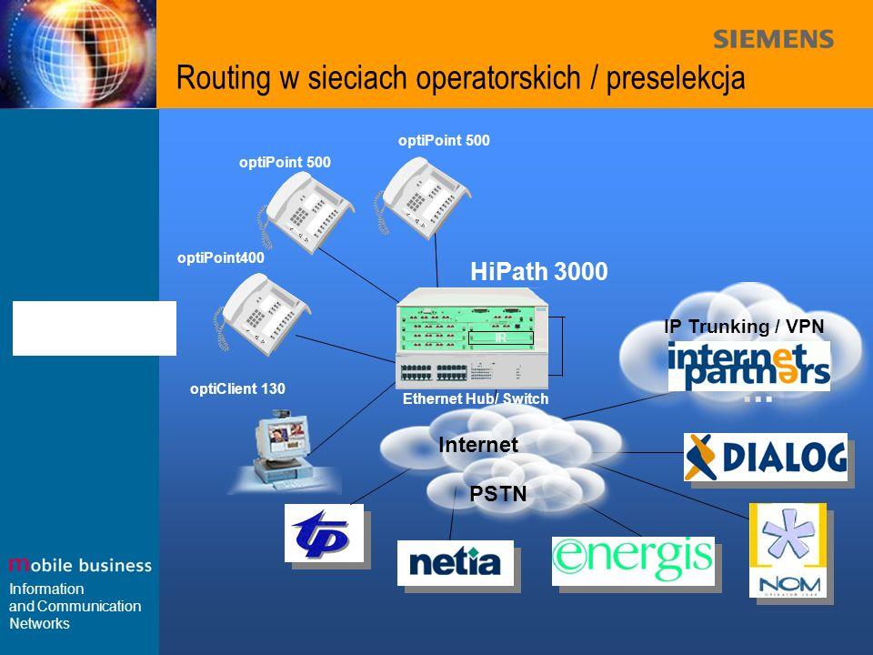 Routing w sieciach operatorskich / preselekcja