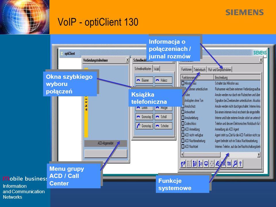 VoIP - optiClient 130 Informacja o połączeniach / jurnal rozmów
