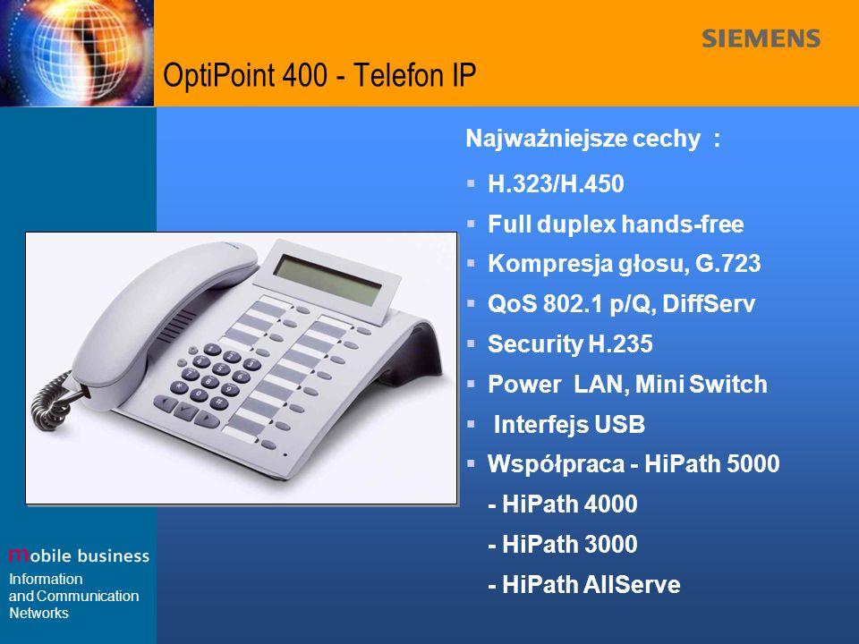 OptiPoint 400 - Telefon IP Najważniejsze cechy : H.323/H.450