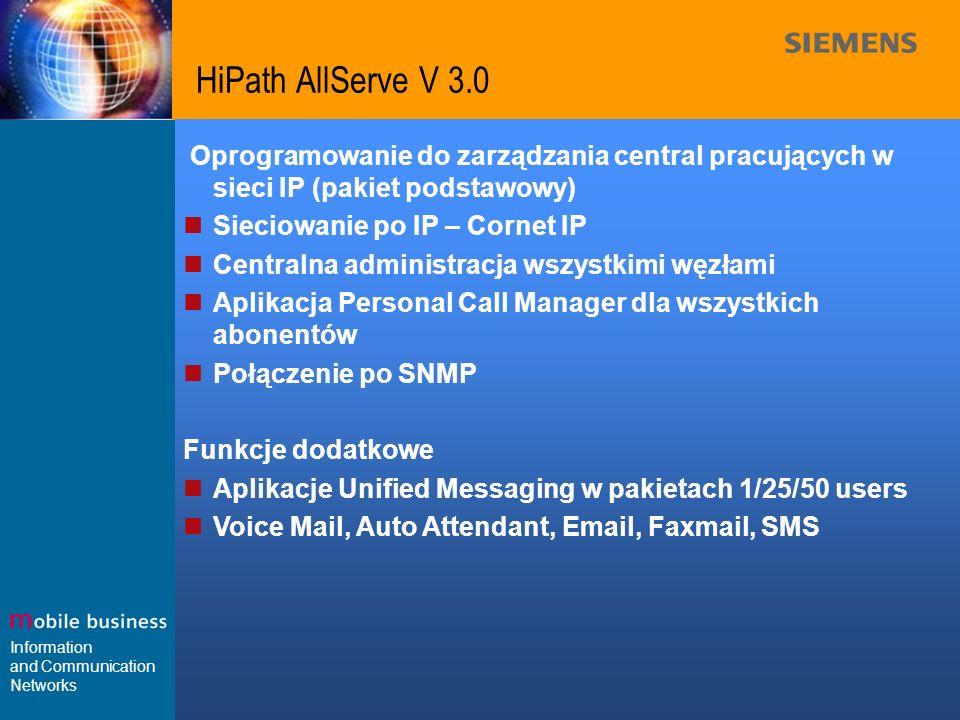 HiPath AllServe V 3.0 Oprogramowanie do zarządzania central pracujących w sieci IP (pakiet podstawowy)