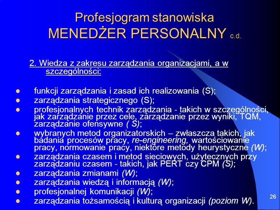 Profesjogram stanowiska MENEDŻER PERSONALNY c.d.