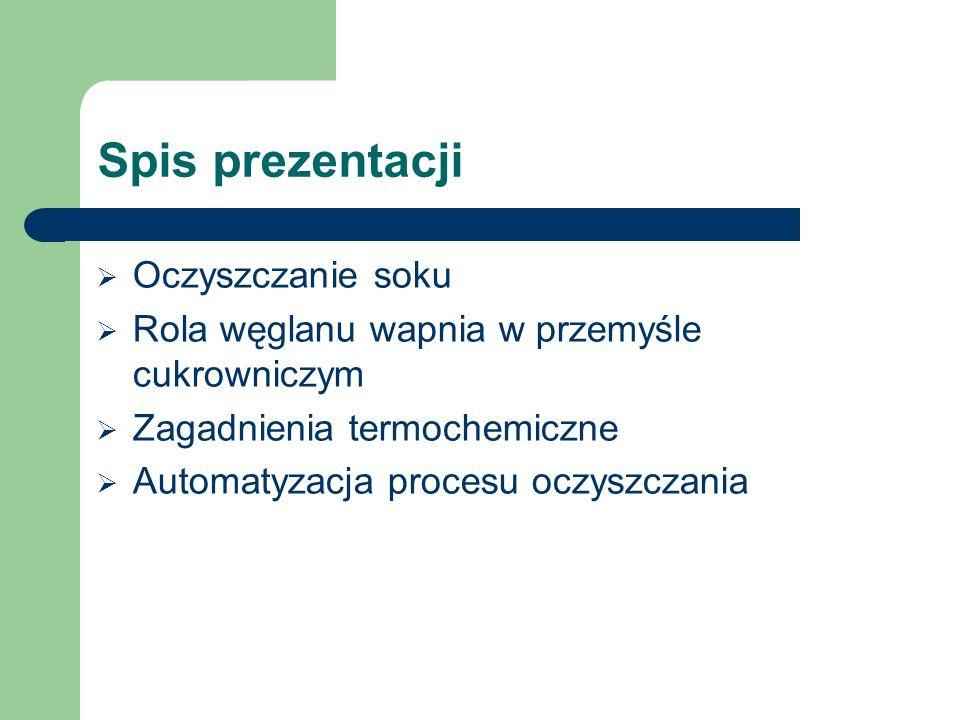 Spis prezentacji Oczyszczanie soku
