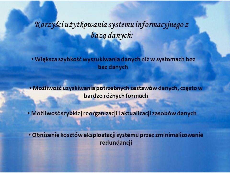 Korzyści użytkowania systemu informacyjnego z bazą danych: