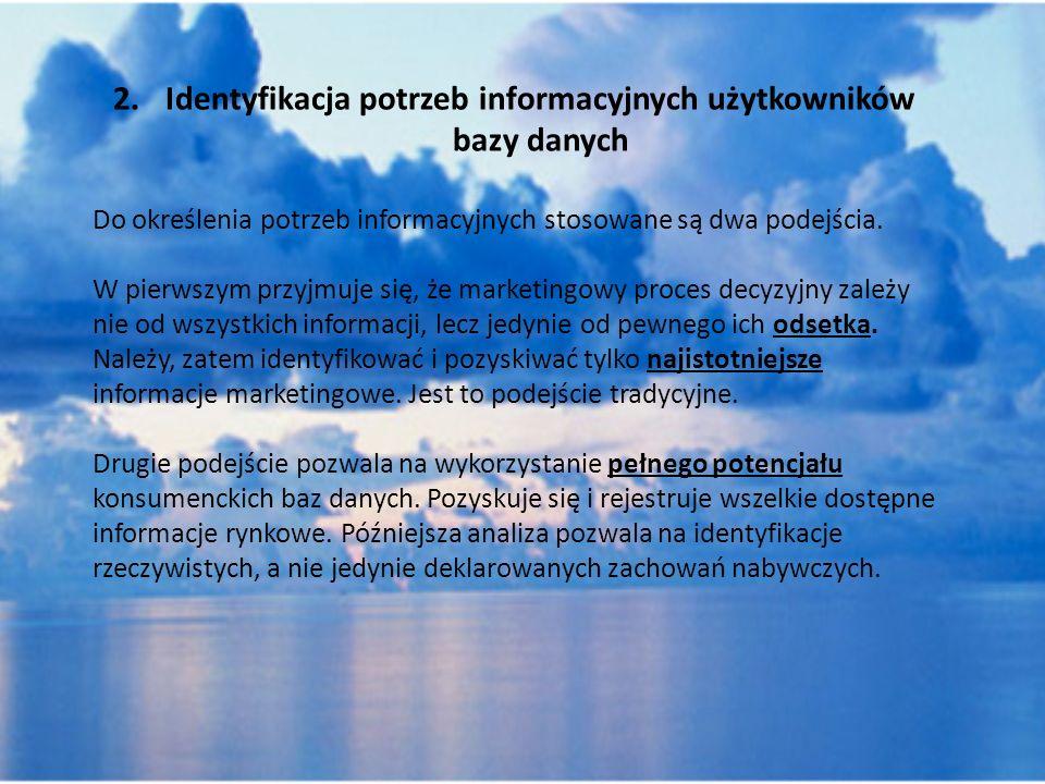 2. Identyfikacja potrzeb informacyjnych użytkowników bazy danych
