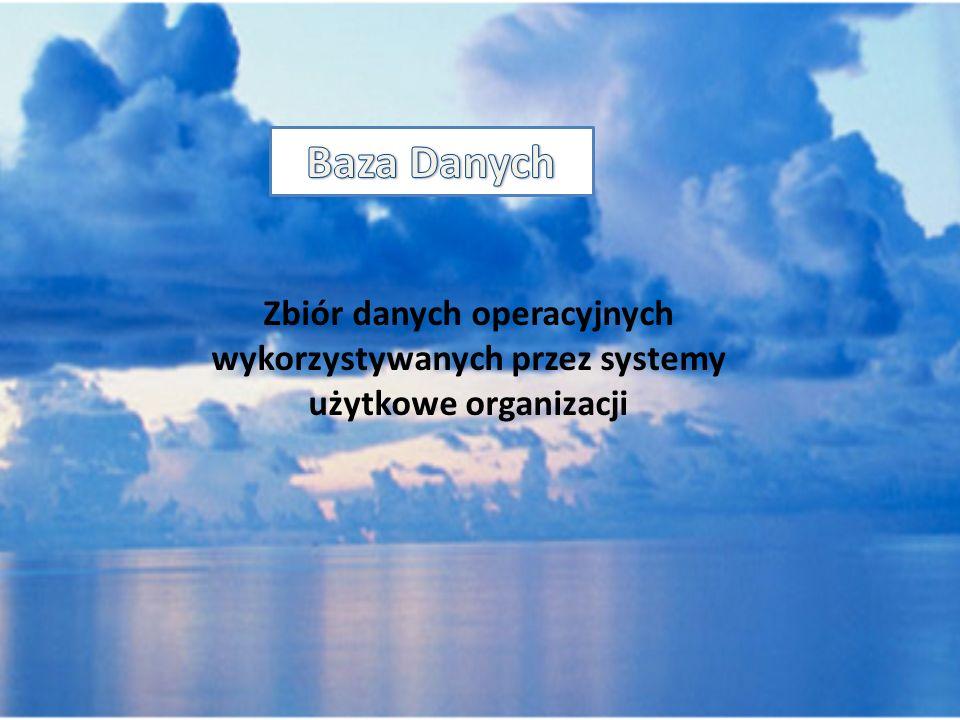 Baza Danych Zbiór danych operacyjnych wykorzystywanych przez systemy użytkowe organizacji