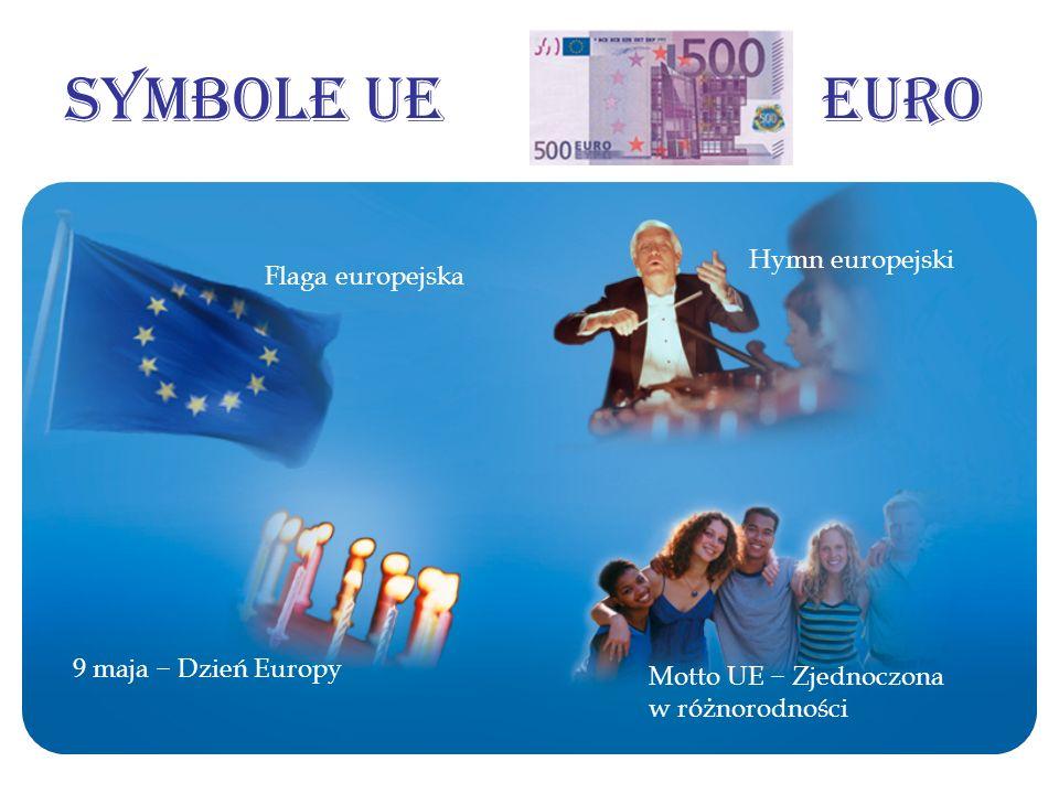 Symbole UE Euro Hymn europejski Flaga europejska 9 maja − Dzień Europy