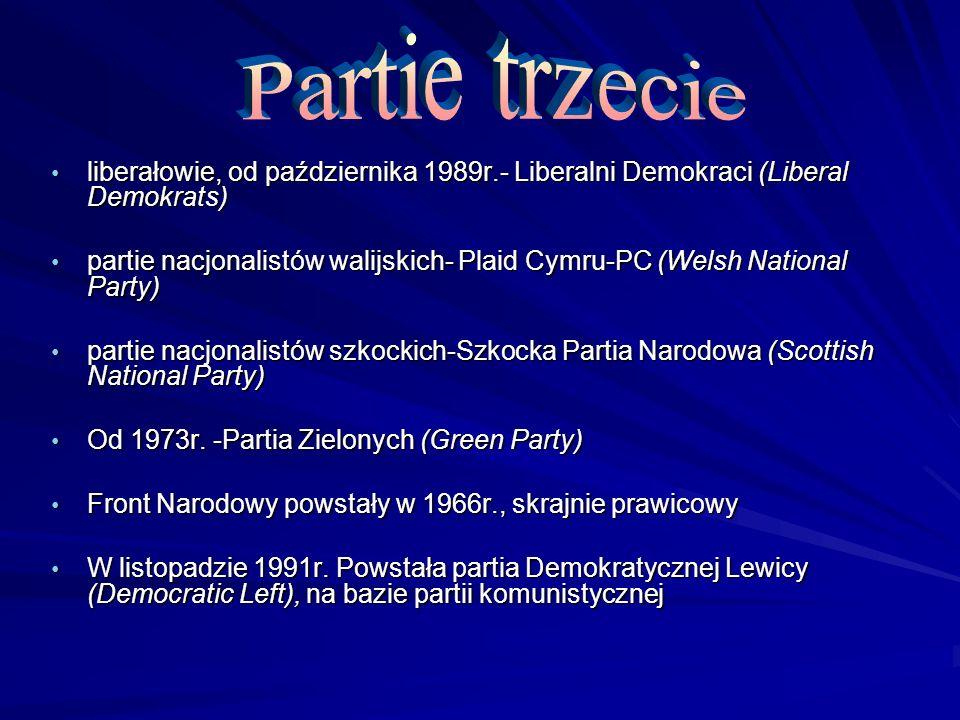 Partie trzecie liberałowie, od października 1989r.- Liberalni Demokraci (Liberal Demokrats)