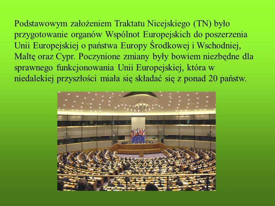 Podstawowym założeniem Traktatu Nicejskiego (TN) było przygotowanie organów Wspólnot Europejskich do poszerzenia Unii Europejskiej o państwa Europy Środkowej i Wschodniej, Maltę oraz Cypr.