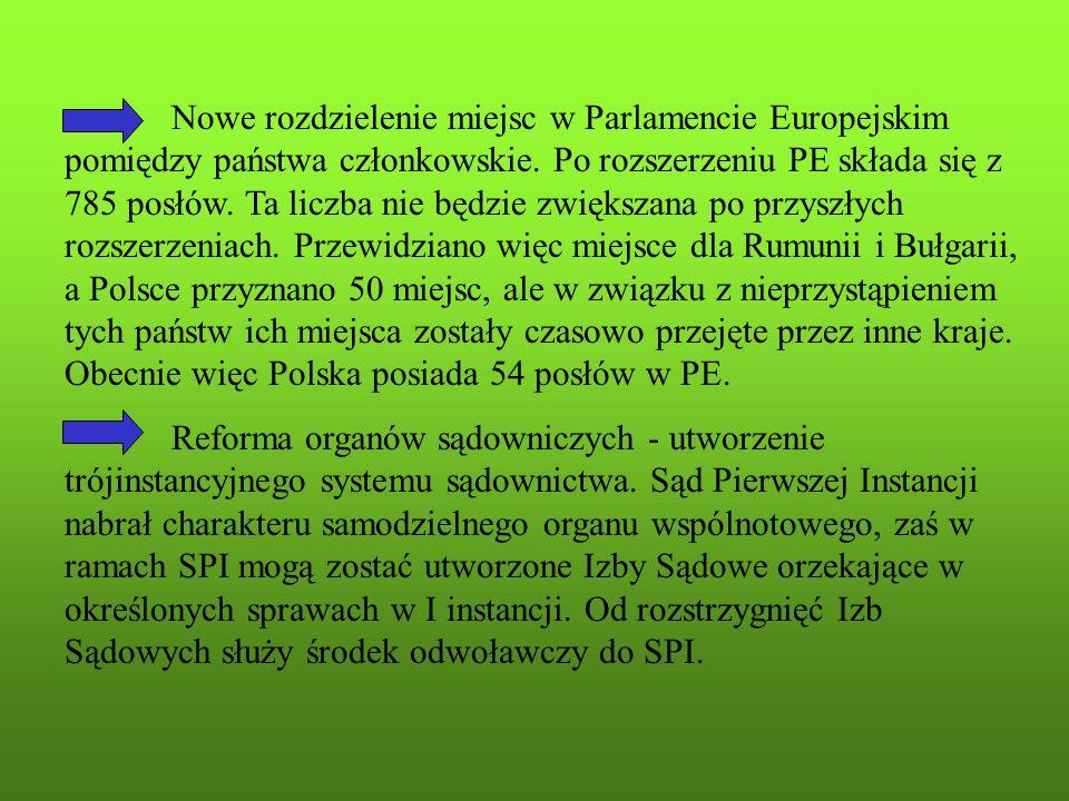 Nowe rozdzielenie miejsc w Parlamencie Europejskim pomiędzy państwa członkowskie. Po rozszerzeniu PE składa się z 785 posłów. Ta liczba nie będzie zwiększana po przyszłych rozszerzeniach. Przewidziano więc miejsce dla Rumunii i Bułgarii, a Polsce przyznano 50 miejsc, ale w związku z nieprzystąpieniem tych państw ich miejsca zostały czasowo przejęte przez inne kraje. Obecnie więc Polska posiada 54 posłów w PE.