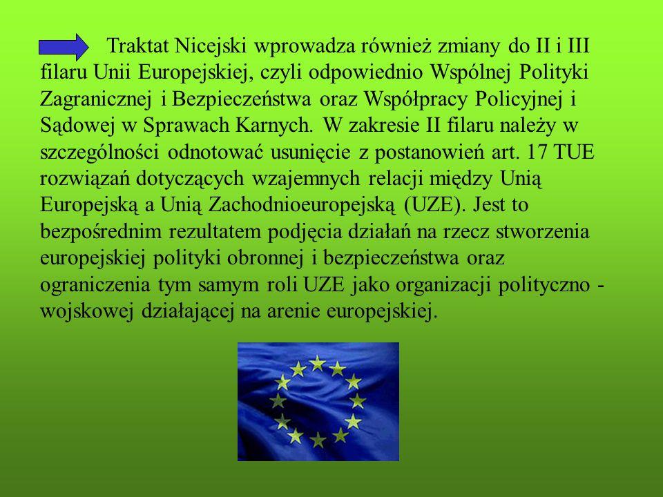 Traktat Nicejski wprowadza również zmiany do II i III filaru Unii Europejskiej, czyli odpowiednio Wspólnej Polityki Zagranicznej i Bezpieczeństwa oraz Współpracy Policyjnej i Sądowej w Sprawach Karnych.