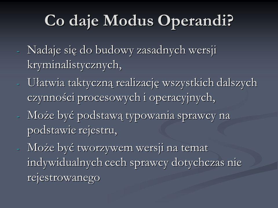 Co daje Modus Operandi Nadaje się do budowy zasadnych wersji kryminalistycznych,
