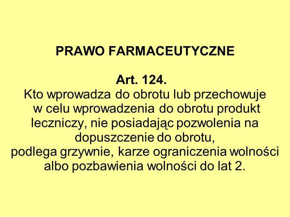 PRAWO FARMACEUTYCZNE Art. 124