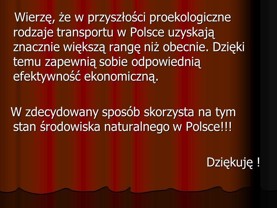 Wierzę, że w przyszłości proekologiczne rodzaje transportu w Polsce uzyskają znacznie większą rangę niż obecnie. Dzięki temu zapewnią sobie odpowiednią efektywność ekonomiczną.