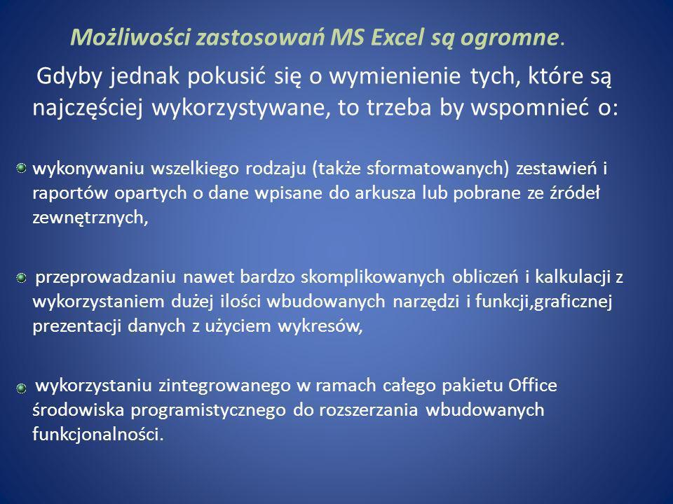 Możliwości zastosowań MS Excel są ogromne.