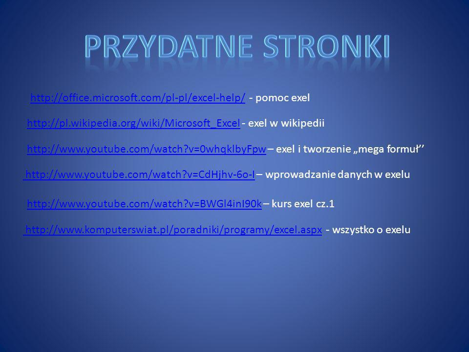 Przydatne stronki http://office.microsoft.com/pl-pl/excel-help/ - pomoc exel. http://pl.wikipedia.org/wiki/Microsoft_Excel - exel w wikipedii.