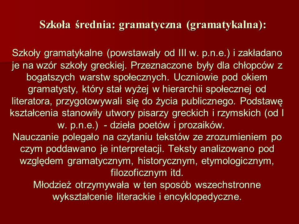 Szkoła średnia: gramatyczna (gramatykalna):
