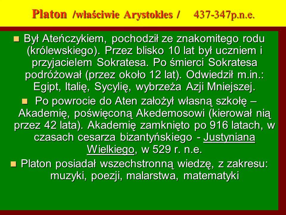 Platon /właściwie Arystokles / 437-347p.n.e.
