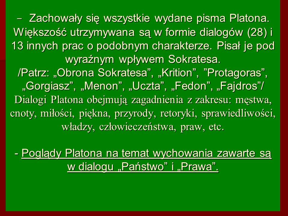 Zachowały się wszystkie wydane pisma Platona
