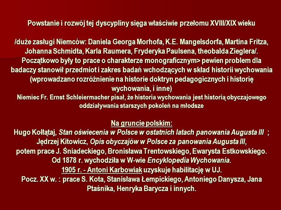Powstanie i rozwój tej dyscypliny sięga właściwie przełomu XVIII/XIX wieku /duże zasługi Niemców: Daniela Georga Morhofa, K.E.