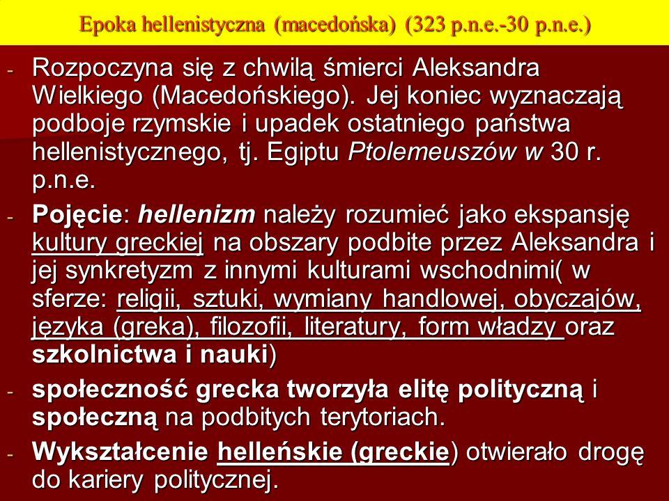 Epoka hellenistyczna (macedońska) (323 p.n.e.-30 p.n.e.)