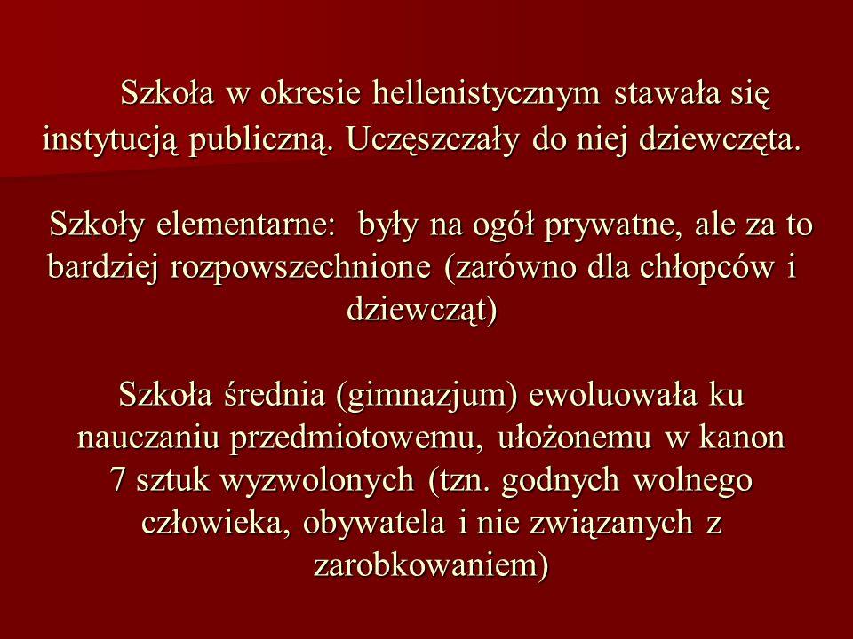 Szkoła w okresie hellenistycznym stawała się instytucją publiczną