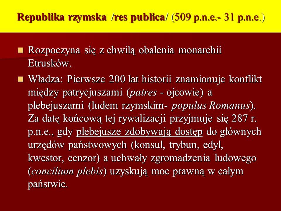 Republika rzymska /res publica/ (509 p.n.e.- 31 p.n.e.)