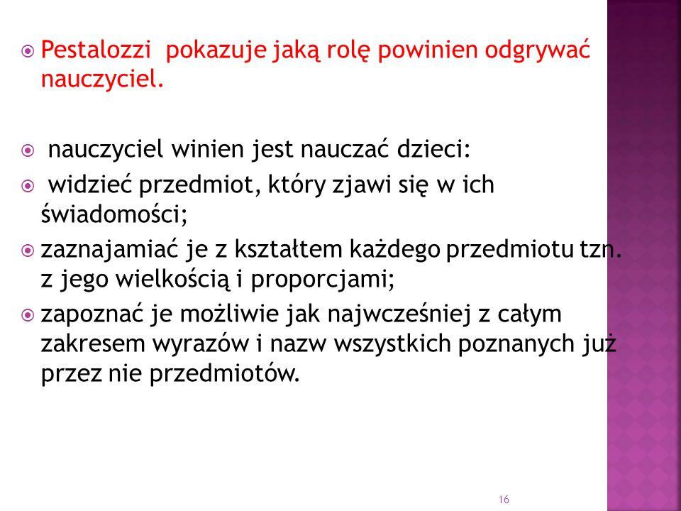 Pestalozzi pokazuje jaką rolę powinien odgrywać nauczyciel.