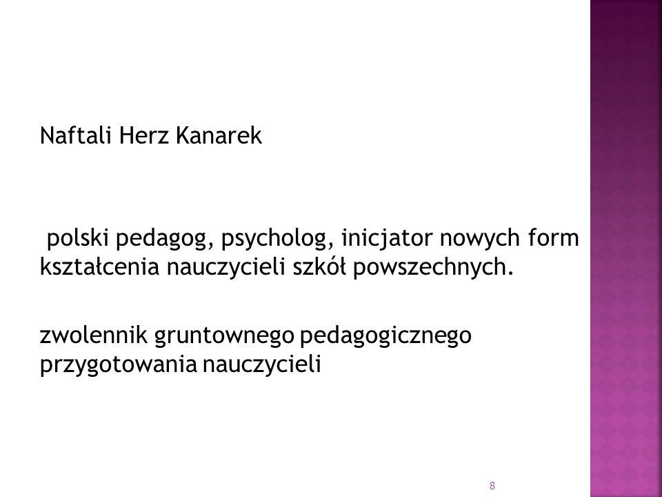 Naftali Herz Kanarekpolski pedagog, psycholog, inicjator nowych form kształcenia nauczycieli szkół powszechnych.