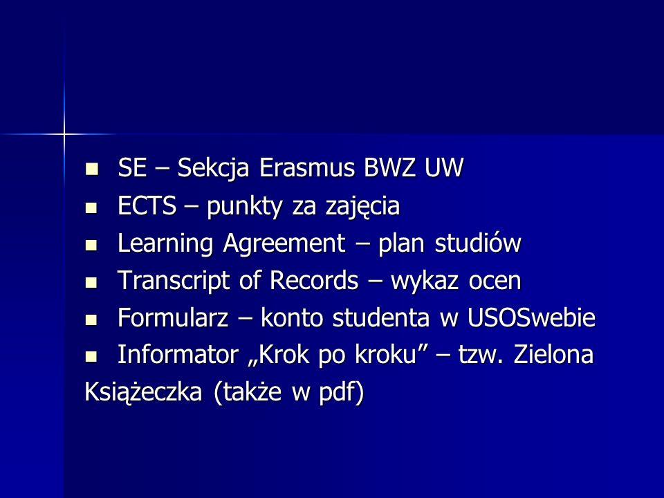SE – Sekcja Erasmus BWZ UW