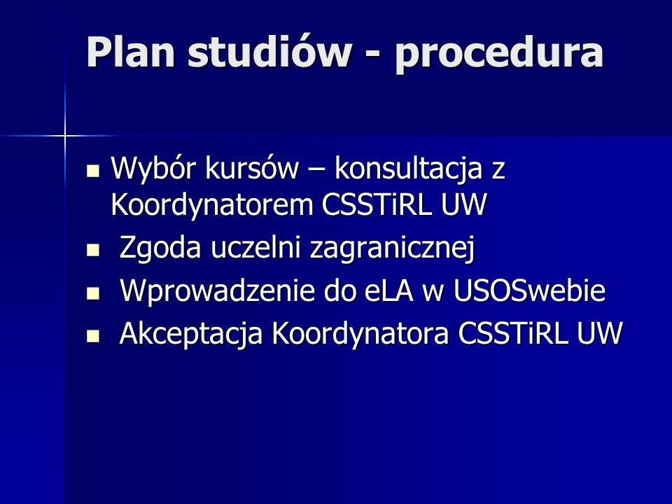 Plan studiów - procedura