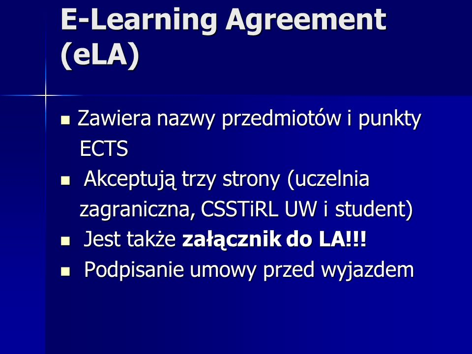 E-Learning Agreement (eLA)