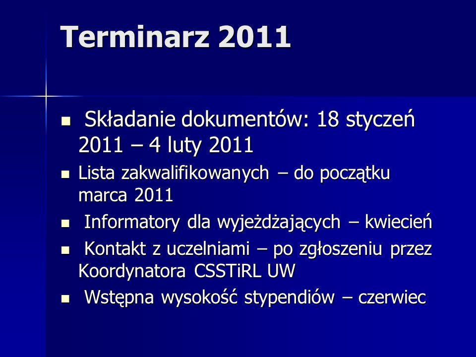 Terminarz 2011 Składanie dokumentów: 18 styczeń 2011 – 4 luty 2011