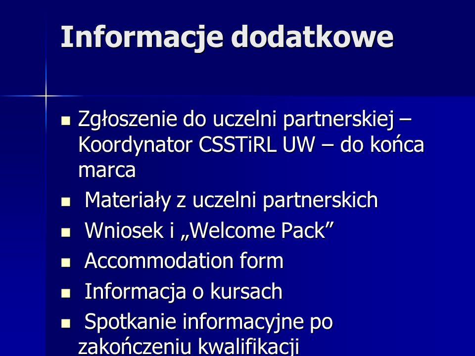 Informacje dodatkowe Zgłoszenie do uczelni partnerskiej –Koordynator CSSTiRL UW – do końca marca. Materiały z uczelni partnerskich.