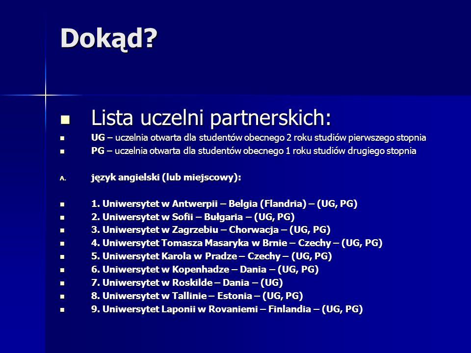 Dokąd Lista uczelni partnerskich: