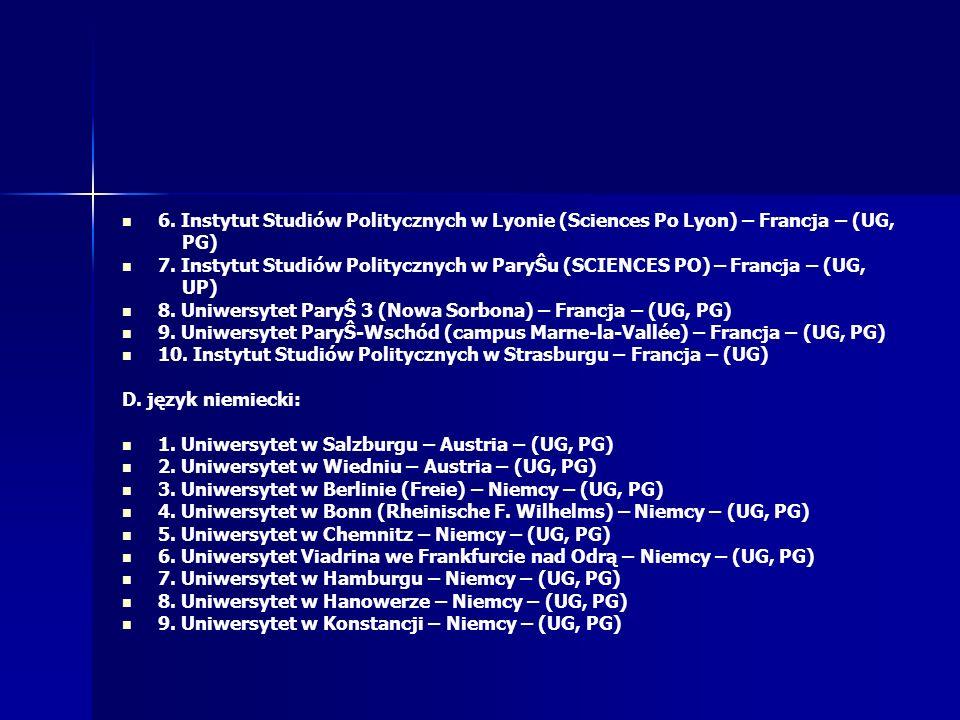 6. Instytut Studiów Politycznych w Lyonie (Sciences Po Lyon) – Francja – (UG,
