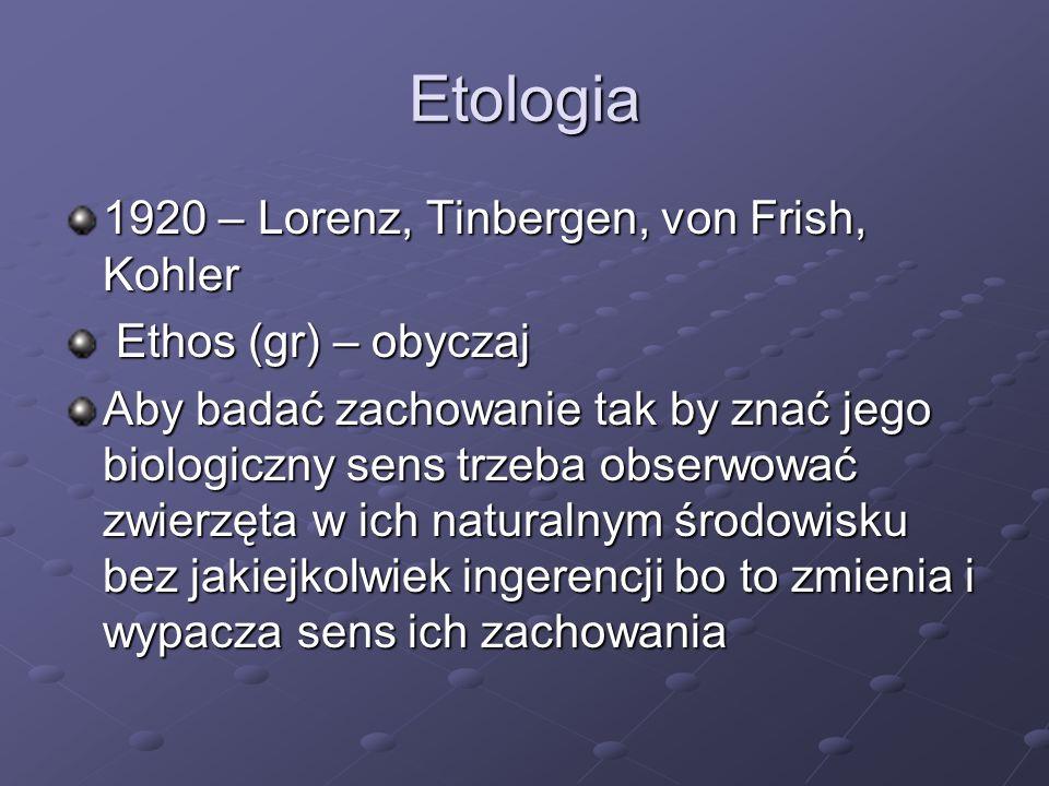 Etologia 1920 – Lorenz, Tinbergen, von Frish, Kohler