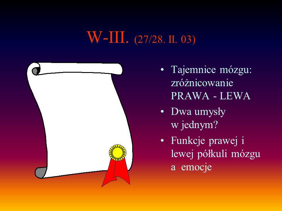 W-III. (27/28. II. 03) Tajemnice mózgu: zróżnicowanie PRAWA - LEWA