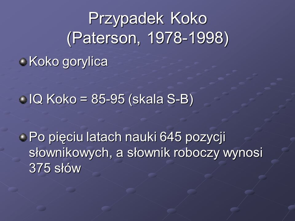 Przypadek Koko (Paterson, 1978-1998)