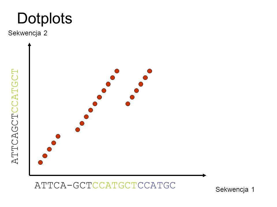 Dotplots ATTCAGCTCCATGCT ATTCA-GCTCCATGCTCCATGC Sekwencja 2