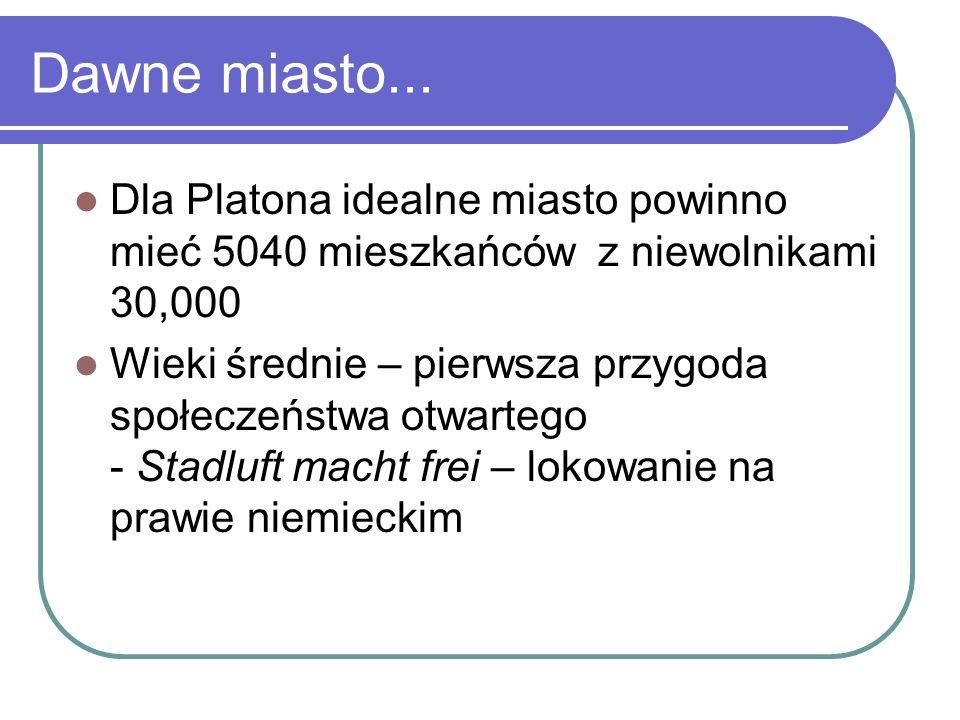 Dawne miasto... Dla Platona idealne miasto powinno mieć 5040 mieszkańców z niewolnikami 30,000.