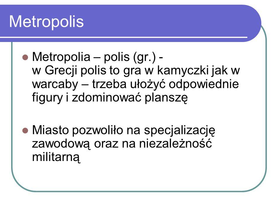 Metropolis Metropolia – polis (gr.) - w Grecji polis to gra w kamyczki jak w warcaby – trzeba ułożyć odpowiednie figury i zdominować planszę.