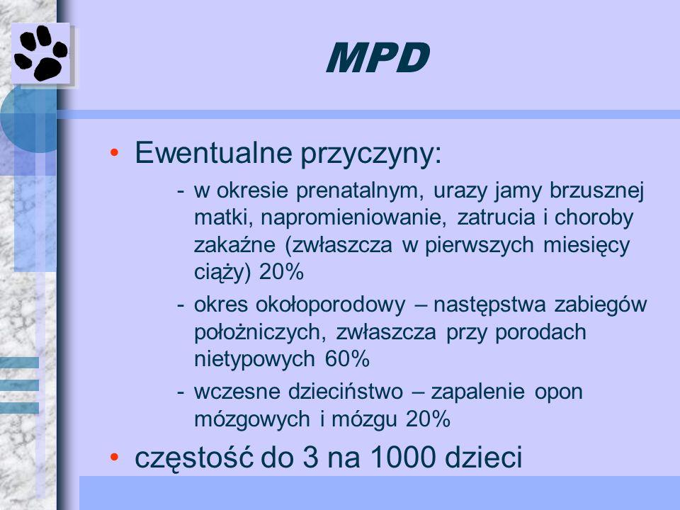 MPD Ewentualne przyczyny: częstość do 3 na 1000 dzieci