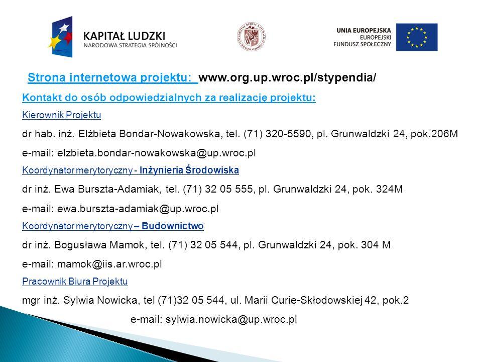 Strona internetowa projektu: www.org.up.wroc.pl/stypendia/