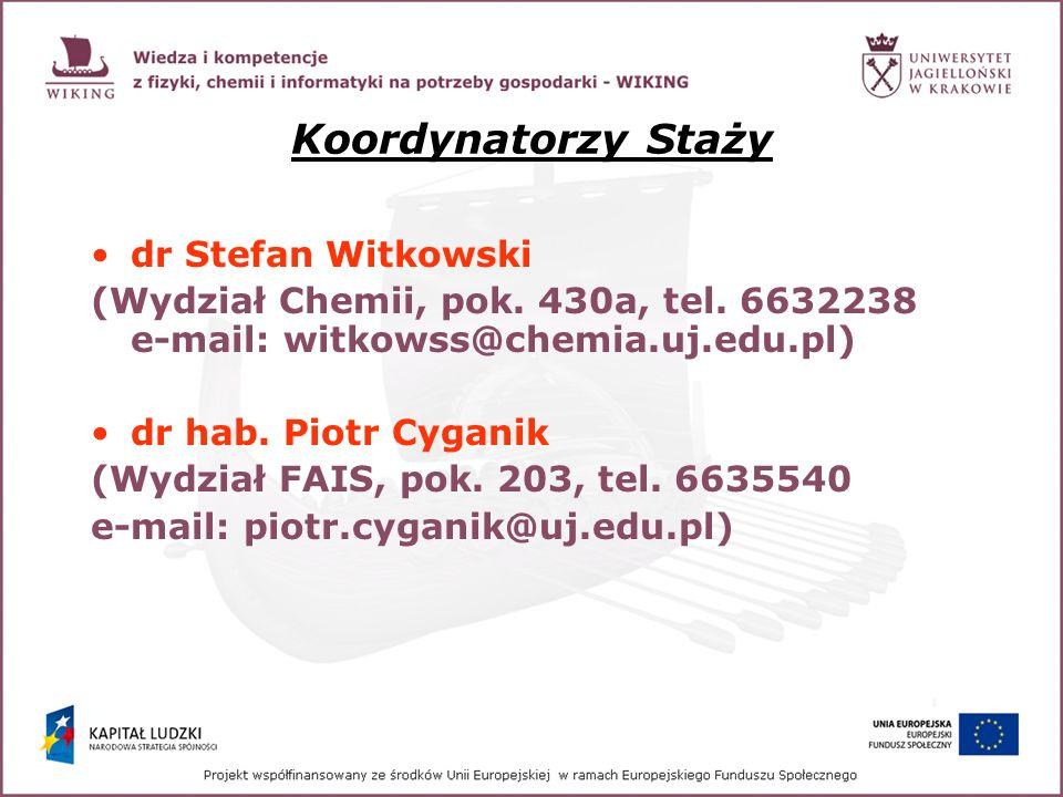 Koordynatorzy Staży dr Stefan Witkowski