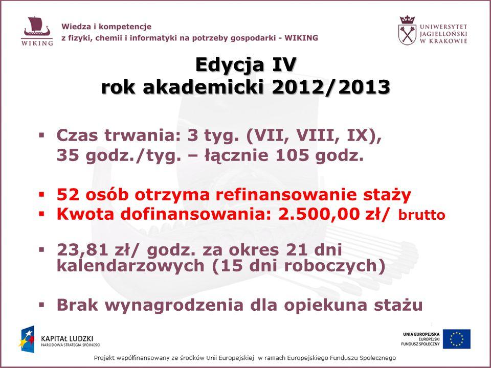 Edycja IV rok akademicki 2012/2013