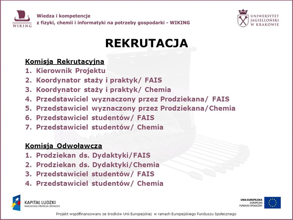 REKRUTACJA Komisja Rekrutacyjna Kierownik Projektu